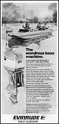 1974 Two Bass Fishermen Evinrude Boat Motor outboard vintage photo print ad ads4