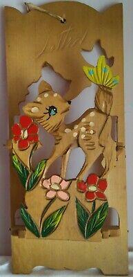 Vintage 60's Retro/Kitsch Wooden Bambi/Fawn/Deer Pop Out Letter Holder/Rack