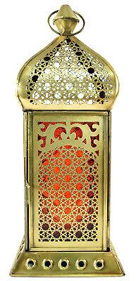 Glas-Laterne für Kerzen/Teelichter Metall 25 cm - orange (Orange Laternen)