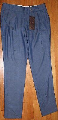 AUTHENTIC! $695 GUCCI 100%RAYON BLUE PLEATED DRESS PANTS SZ EU 38/ US 2