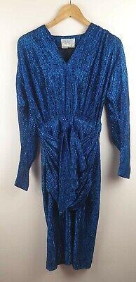 80s Dresses | Casual to Party Dresses Vintage Cue Blue Lurex 80s Bodycon Dress Size 10 $36.67 AT vintagedancer.com