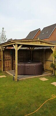 Used, Wooden garden pergola Hot Tub Shelter House 2.5m X 2.5m for sale  Durham