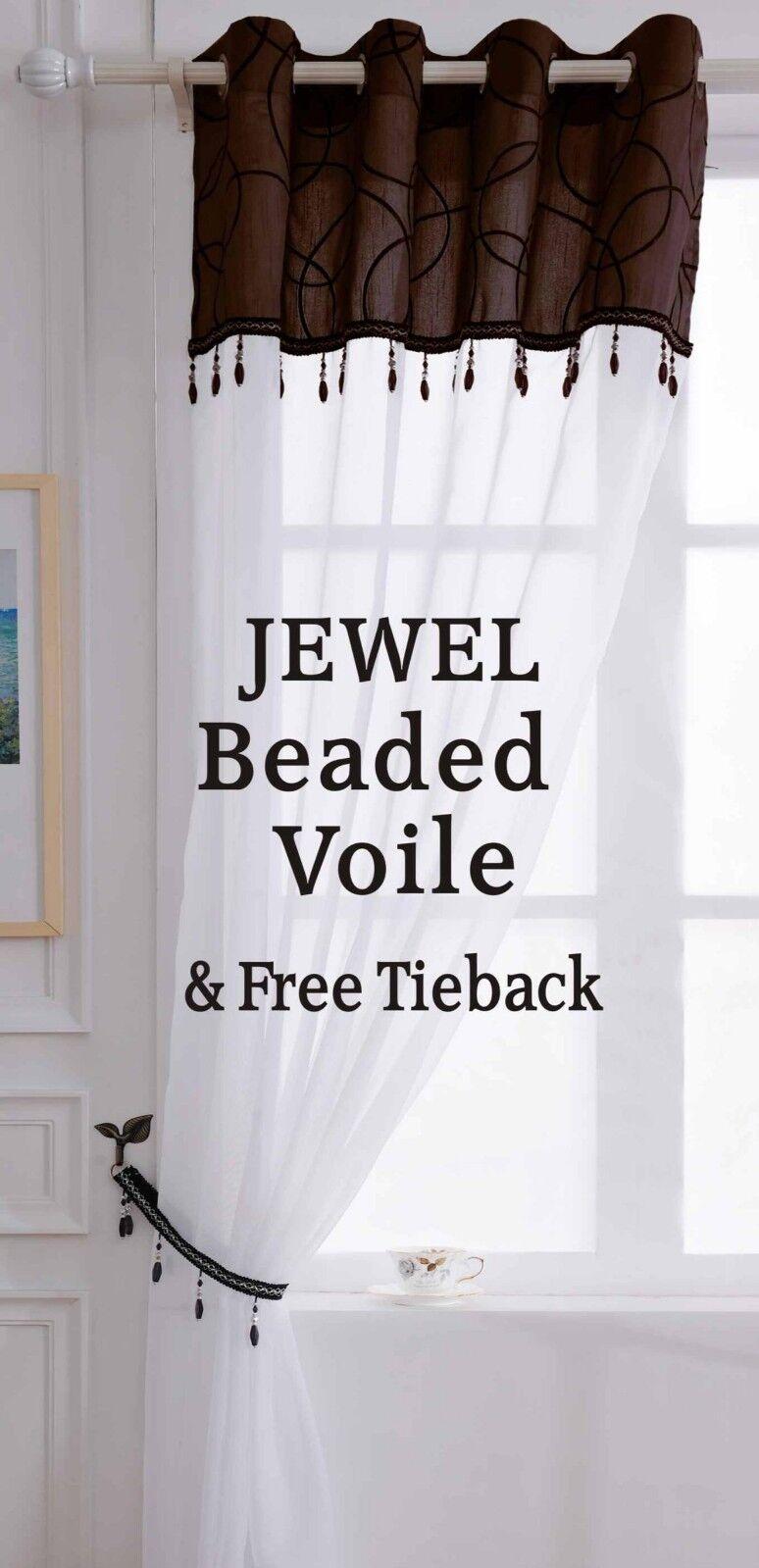 Clearance Jewel Tassel Beaded Eyelet Voile Curtain Panel