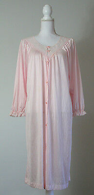 Vintage Nightgown Nightie LARGE Pink Lace Women's Floral Pajamas USA Robe Gown