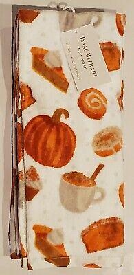 Isaac Mizrahi New York 3 Kitchen Towels Fall Pumpkin Pie Spice Latte NEW