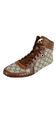 Gucci Guccissima GG Men's Shoes Boots Trainers Leather crocodile trim high top, used for sale  Shipping to South Africa