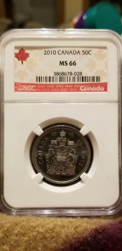 2010 CANADA 50C MS66 MS 66 HALF DOLLAR EXCELLENT RARE COIN!!!