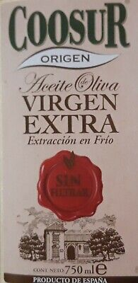 ETIQUETA NUEVA ACEITE DE OLIVA VIRGEN EXTRA SIN FILTRAR COOSUR.