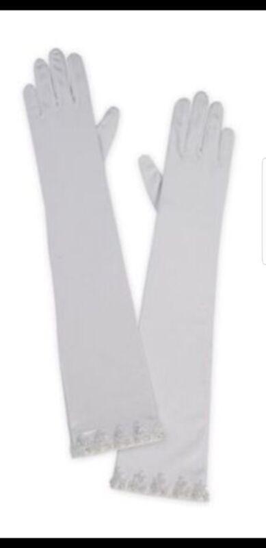 Elbow length Bridal Swarovski White satin gloves