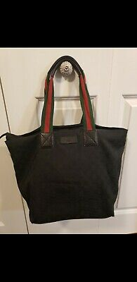 VTG GUCCI GG BLACK TOTE PURSE BAG