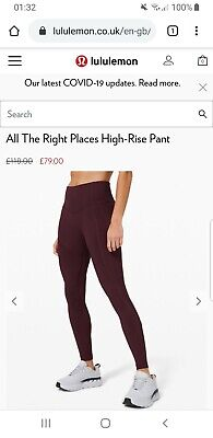 Lululemon All The Right Places Leggings US Size 8 Cassis
