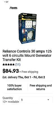 Reliance Controls 30amp 125volts 6 Circuits