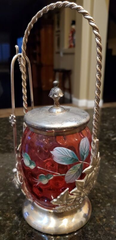 VICTORIAN PICKLE CASTOR BARBOUR S.P. CRANBERRY ENAMELED JAR Yellow Rose