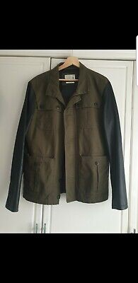 Mens Premium Jack & Jones Zipped Jacket khaki with black leather styling Large