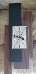VTG VERICHRON WALL CLOCK FLOATING WOOD PANEL MCM MID CENTURY MODERN EAMES ERA