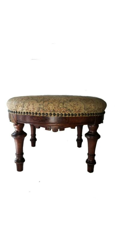 Victorian Eastlake Walnut Round Footstool Ottoman