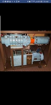Stokes Microvane Vacuum Pump With Roots Blower And Exhaust Scrubber On Cart