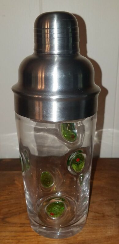 Glass Martini Cocktail Shaker Barware with Green Olive Motif w/ Lid & Strainer