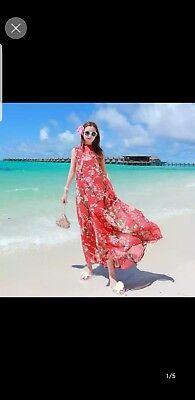 Damen Blumendruck lang  Sommerkleid Strandkleid Gr: 34, XS rot luftig chinesisch