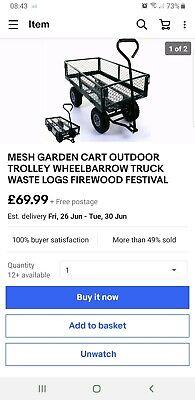 MESH GARDEN CART OUTDOOR TROLLEY WHEELBARROW TRUCK WASTE LOGS FIREWOOD FESTIVAL