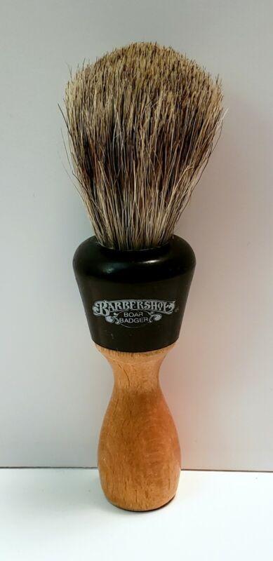 Vintage BARBERSHOP Wood Handle SHAVING BRUSH w/ BOAR BADGER Bristles LUXURY