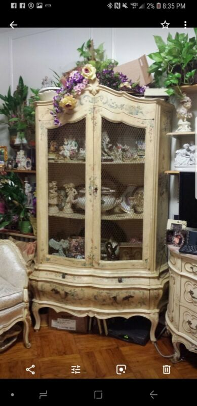 French Hand Painted Curio Display Cabinet Case