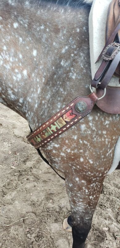 Leather Aztec Breast Collar Buckstitched Western Horse Tack Feather Navajo Rodeo