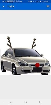 Rudolph Car Costume Kit Reindeer Antlers and Nose Accessories Christmas Funny (Christmas Car Accessories Reindeer Antlers)