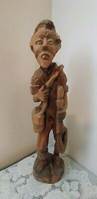 Vtg Hand Carved Wood Art Sculpture Old Man Carrying Farm Tool, Bag over Shoulder