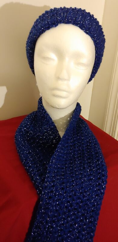 Knitted  hat and scarf set - blue and silver