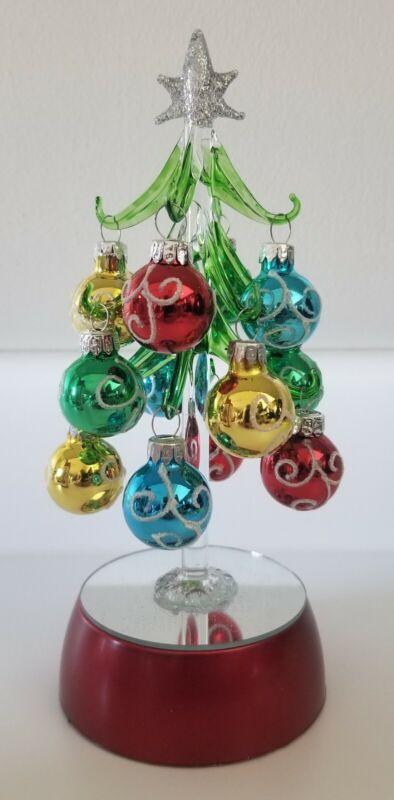 "Ganz LED Light up Glass Christmas Tree with 12 Glass Ornaments 8"" Tall NIB"