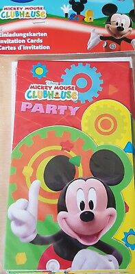 1x Pack of 6 Disney Mickey Mouse Themed Party Paper Invitations. (Mickey Mouse Party Theme Decorations)