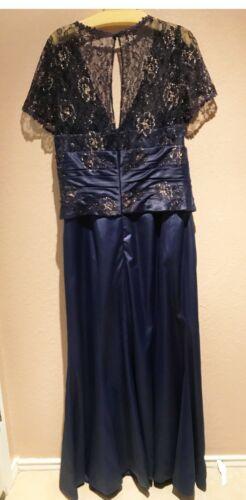 Mother of Bride Dress Gown Short Sleeve Beaded V-Neck Mermaid Navy Blue 14, 12