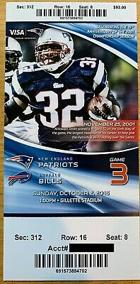 October 2 2016 New England Patriots vs. Buffalo Bills Ticket