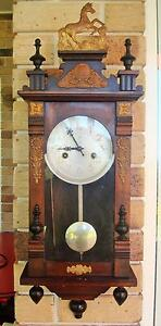Antique 15 Day Polaris Wooden Pendulum Wall Clock Wind-up Chiming Bonogin Gold Coast South Preview