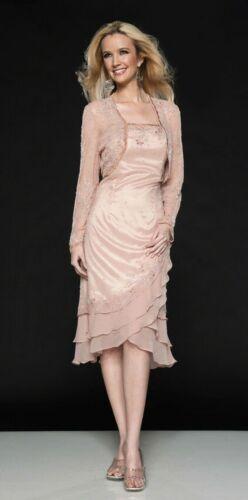 Mother of Bride Dress Vintage Scala 2pc. Formal Midi Silk Beads Jacket Pink 16