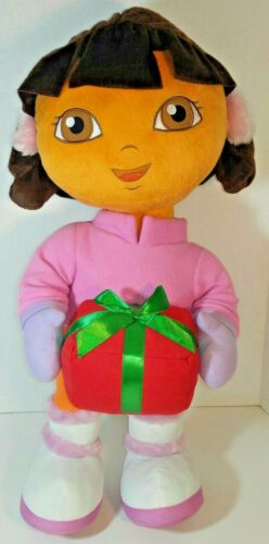 """Dora The Explorer Stand Up Plush with Present Ear Muffs Boots Jumbo 26"""""""