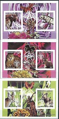 Tschad - Säugetiere aus aller Welt 3 x KLB Paare postfrisch 1998 Mi. 1646-1651 B