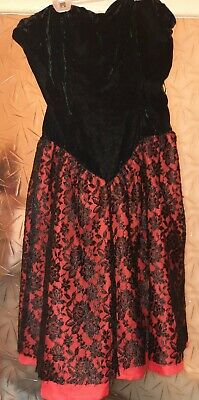 Womens Sexy Black & Red Lace Velvet Bodice Can Can Style Dress. Sz 12. Gothic