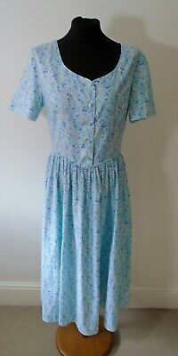 Vintage Laura Ashley Blue Floral Dress 80s / 90s UK 12