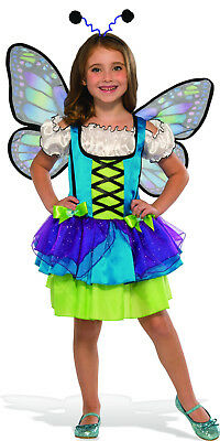 Girls Glittery Blue Butterfly Costume Dress Wings & Antenna Size Medium 8-10