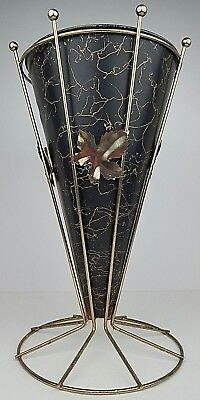 Used, Mid Century Modern Gold Tone Wire Squiggly Lines & Leaves Umbrella Stand Holder for sale  Williamsport