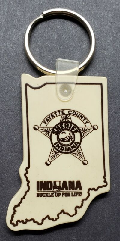 VINTAGE FAYETTE COUNTY INDIANA SHERIFF KEY RING KEY CHAIN FOB CONNERSVILLE IND.