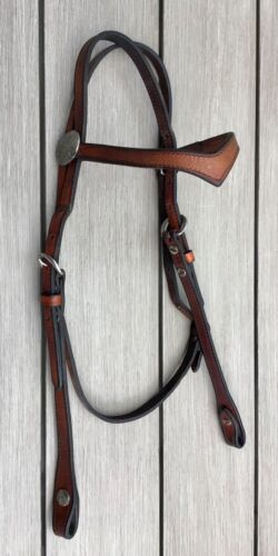 Browband Western Headstall with Silver - Jones Leather Turlock California USA