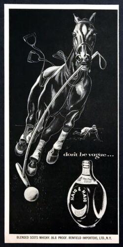 1954 Polo Horse Hitting Ball Throwing Rider art Haig & Haig vintage print ad