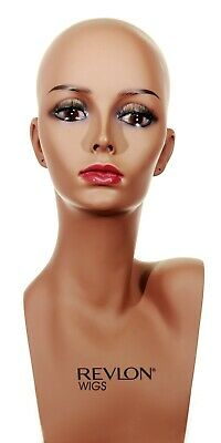 Female Mannequin Head Realistic Hat Jewelry Hair Wig Shop Display Form-2