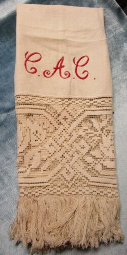 Antique Homespun Linen Towel Net Lace Borders Red C A C Monogram Appears Unused