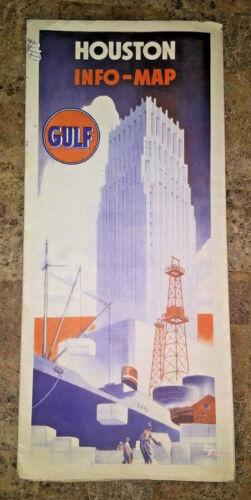 Vintage 1930s Houston Texas Gulf Oil Info Map