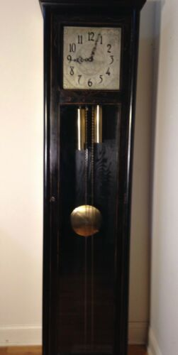 Colonial Grandfather Clock, c 1925, ebonized, hand-painted gold leaf decoration
