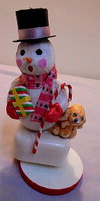 "Snowman Musical Plays Frosty The Snowman, Sanko Japan Plastic 6.25"" Tall Vintage"